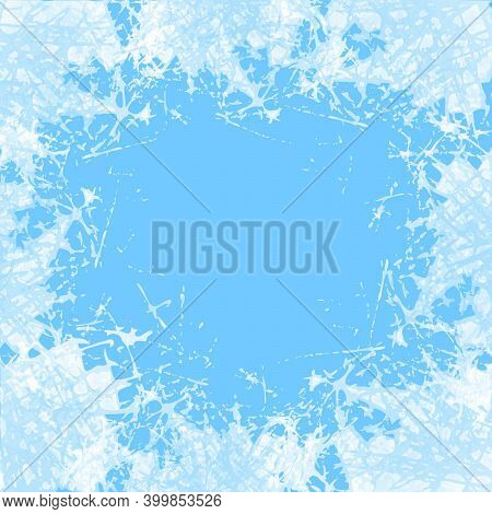 Blue Frosted Window. Winter White Ice Crystals Texture Background. Holiday Snow Frame Patterns. Jpeg