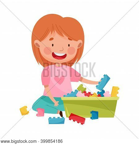 Happy Girl Sitting On Floor In Playroom And Playing With Construction Toy Vector Illustration