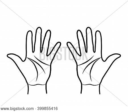 Human Hands On A White Background. Symbol. Vector Illustration.