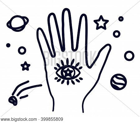 Hand And Eye In The Palm. Symbol. Vector Illustration.