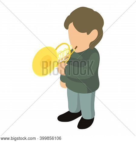 French Horn Icon. Isometric Illustration Of French Horn Vector Icon For Web