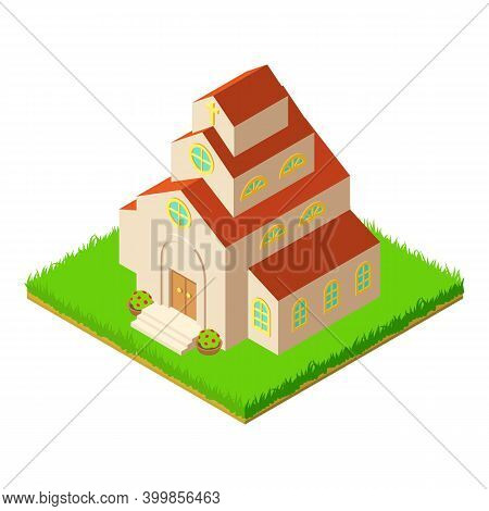 Tall Church Icon. Isometric Illustration Of Tall Church Vector Icon For Web