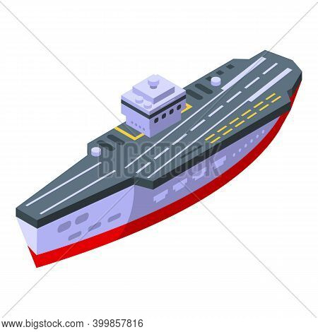 Aircraft Carrier Ship Icon. Isometric Of Aircraft Carrier Ship Vector Icon For Web Design Isolated O