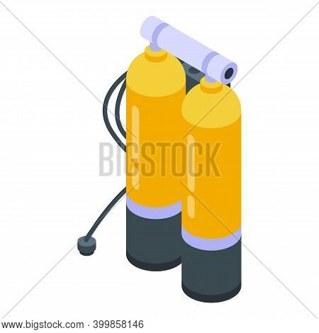 Diving Oxygen Balloons Icon. Isometric Of Diving Oxygen Balloons Vector Icon For Web Design Isolated