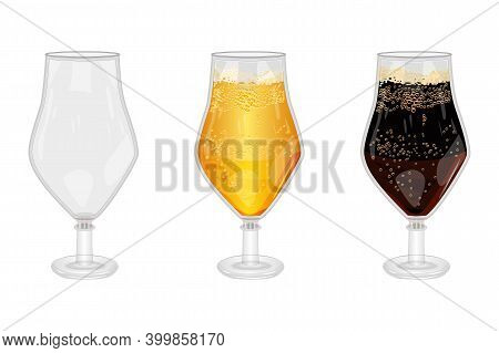 Set Of Full And Empty Beer Glass Isolated On White Background. Empty, Lager And Dark Beer Glasses Wi