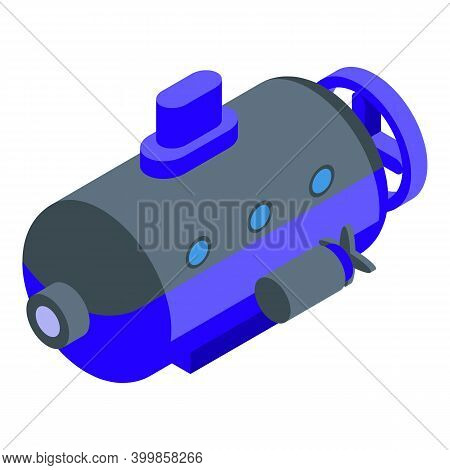 Blue Deep Submarine Icon. Isometric Of Blue Deep Submarine Vector Icon For Web Design Isolated On Wh