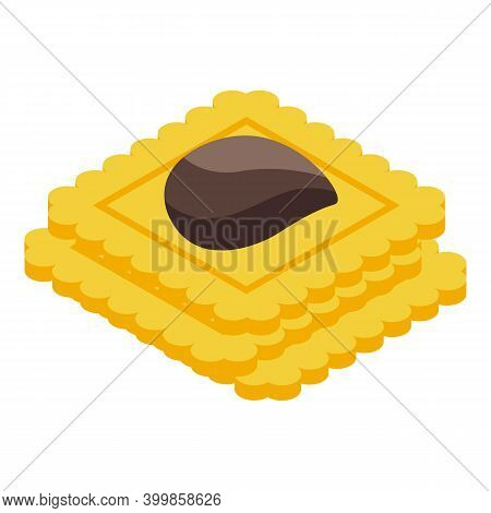 Chocolate Paste Biscuits Icon. Isometric Of Chocolate Paste Biscuits Vector Icon For Web Design Isol