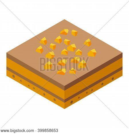 Chocolate Paste Nut Cake Icon. Isometric Of Chocolate Paste Nut Cake Vector Icon For Web Design Isol