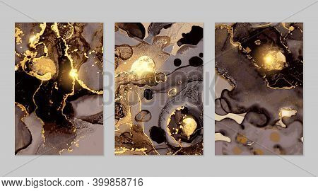 Set Of Black, Grey And Gold Marble Abstract Flyers. Alcohol Ink Technique
