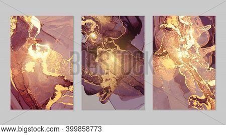 Set Of Gold And Dark Purple Posters With Geode. Marble Abstract Pattern. Alcohol Ink Technique