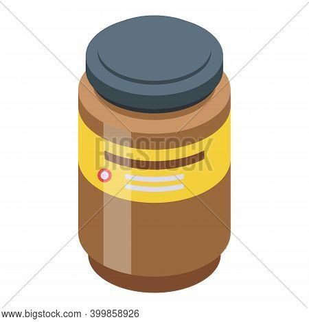 Chocolate Paste Milk Jar Icon. Isometric Of Chocolate Paste Milk Jar Vector Icon For Web Design Isol