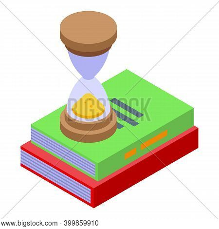Hourglass Assignment Icon. Isometric Of Hourglass Assignment Vector Icon For Web Design Isolated On