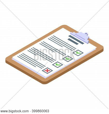 Clipboard Assignment Icon. Isometric Of Clipboard Assignment Vector Icon For Web Design Isolated On