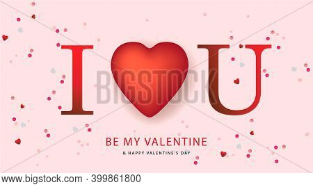 Happy Valentine Day. I Love You. Holiday Gift Card. Vector Illustration.