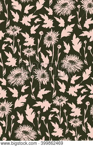 Seamless Pattern With Silhouette Of Chrysanthemum Flowers In Full Bloom. Freehand Floral Ornate Spot