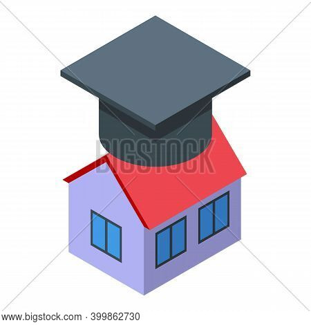 Home Education Icon. Isometric Of Home Education Vector Icon For Web Design Isolated On White Backgr