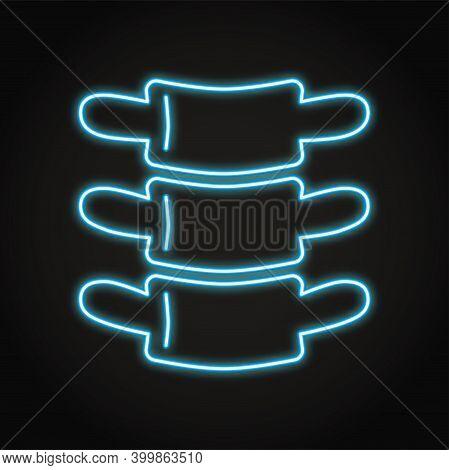 Neon Human Vertebra Icon In Line Style