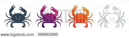 Set Of Colorful Cancer Vector Web Icons. Illustration Of An Astrology Sign. Zodiac Astrology Sign De