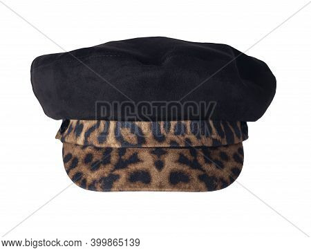 Fashion Black Hat With Brown Black Visor Isolated On White Background.cap Female. Colored Hat .