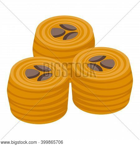 Turkish Nut Roll Icon. Isometric Of Turkish Nut Roll Vector Icon For Web Design Isolated On White Ba