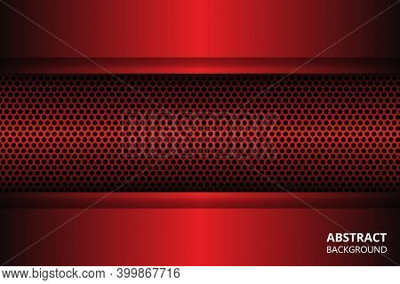 Dark Red Abstract Background With Carbon Fiber And Geometric Shapes. Black Carbon Textured Pattern.
