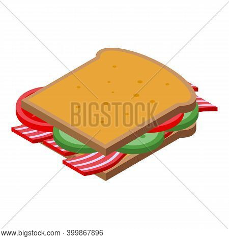 Sandwich Bacon Icon. Isometric Of Sandwich Bacon Vector Icon For Web Design Isolated On White Backgr