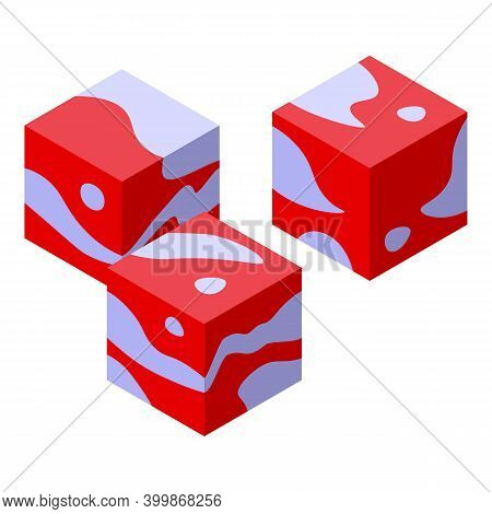 Bacon Cube Icon. Isometric Of Bacon Cube Vector Icon For Web Design Isolated On White Background