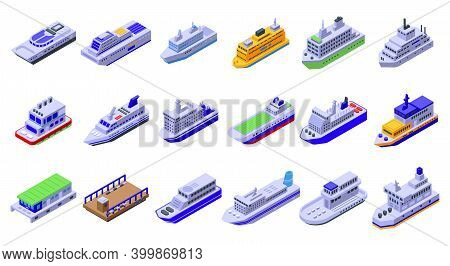Ferry Icons Set. Isometric Set Of Ferry Vector Icons For Web Design Isolated On White Background