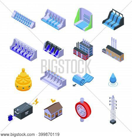 Hydro Power Icons Set. Isometric Set Of Hydro Power Vector Icons For Web Design Isolated On White Ba