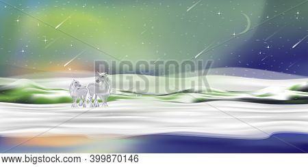 Winter Landscape With Couple Unicorn Standing On Snow With Northern Light And Crescent Moon,vector S