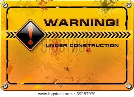Under Construction, yellow grunge warning sign vector