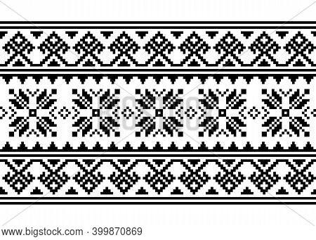 Ukrainian, Belarusian Cross-stitch Vector Seamless Pattern, Monochrome Long Retro Ornament Inpired B