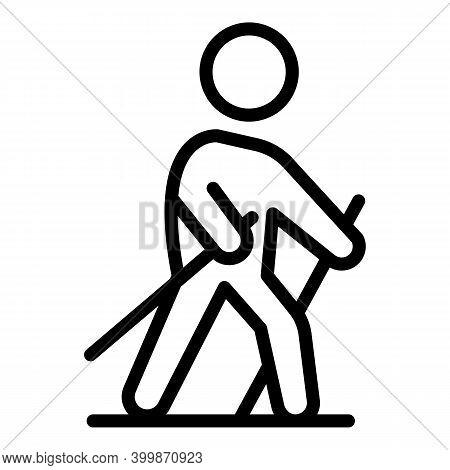 Nordic Walking Icon. Outline Nordic Walking Vector Icon For Web Design Isolated On White Background