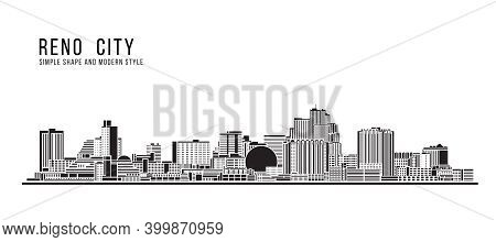 Cityscape Building Abstract Simple Shape And Modern Style Art Vector Design -  Reno City