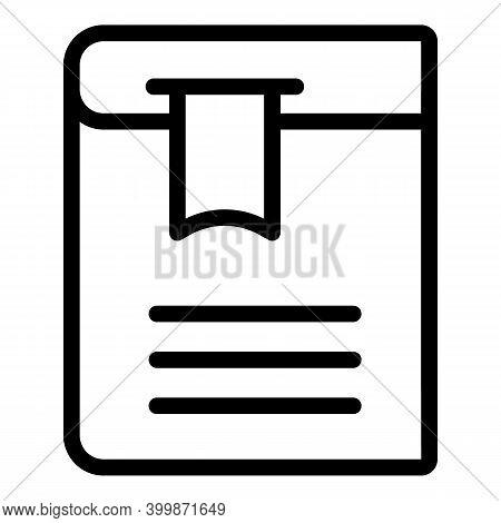 Literature Book Bookmark Icon. Outline Literature Book Bookmark Vector Icon For Web Design Isolated
