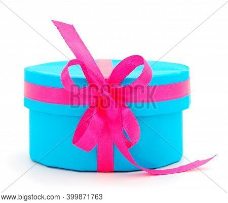 Gift Blue Box, Gift On A White Background Isolated. Vacation. Valentine's Day. Women's Day. Mothers