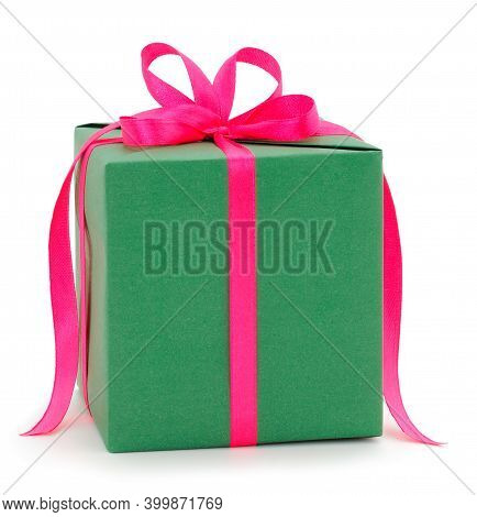 Gift Green Box, Gift On A White Background Isolated. Vacation. Valentine's Day. Women's Day. Mothers