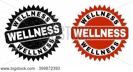 Black Rosette Wellness Seal Stamp. Flat Vector Scratched Seal With Wellness Phrase Inside Sharp Rose
