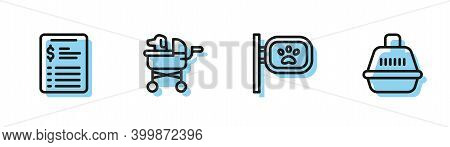 Set Line Pet Grooming, Grooming Salon Price List, Stroller And Carry Case Icon. Vector