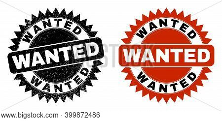 Black Rosette Wanted Watermark. Flat Vector Scratched Watermark With Wanted Text Inside Sharp Rosett