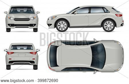 Crossover Suv Vector Mockup On White Background For Vehicle Branding, Corporate Identity. View From
