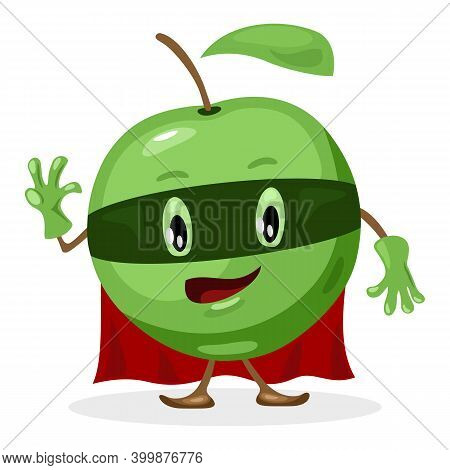 Green Superhero Fruit Apple In Costume, Ripe Delicious Fruit. Vector Character With Eye, Mouth, Hand