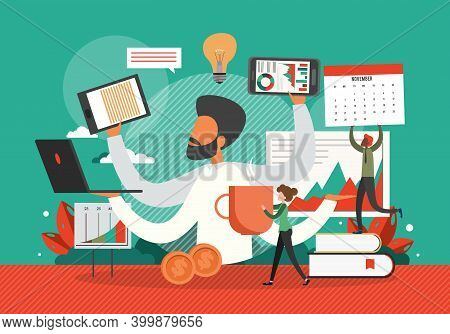Busy Businessman In A Hurry With Many Hands Holding Laptop, Smart Phone, Documents. Business Concept