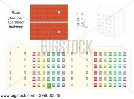 Apartment Building Paper Model. Easy Template - Big Town House With Colorful Windows, Happy Neighbor