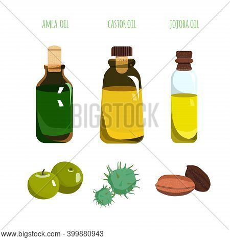 Amla, Castor And Jojoba  Oil In Different Glass Vials. Various Bottles With Corks.indian Gooseberry
