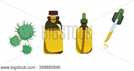Castor Oil In Glass Vial With Cork And In Bottle With Dropper. Fruit For Herbal Medicine Or Beauty I