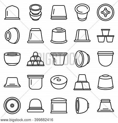 Capsule Coffee Icons Set. Outline Set Of Capsule Coffee Vector Icons For Web Design Isolated On Whit