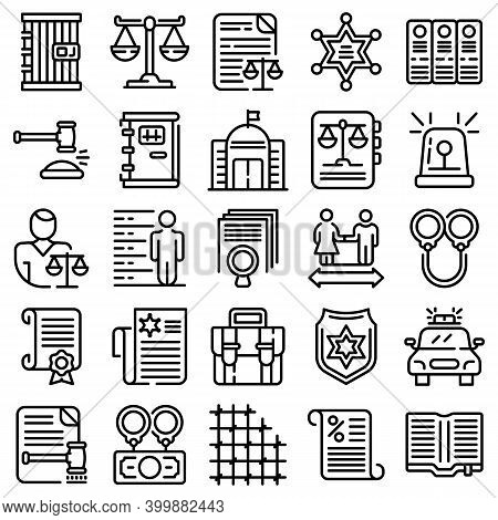 Criminal Justice Icons Set. Outline Set Of Criminal Justice Vector Icons For Web Design Isolated On