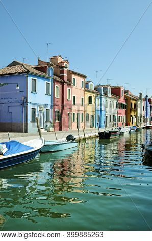 Colorful Houses On The Famous Island Burano At Sunset Light, Venice. Venice And The Venetian Lagoon