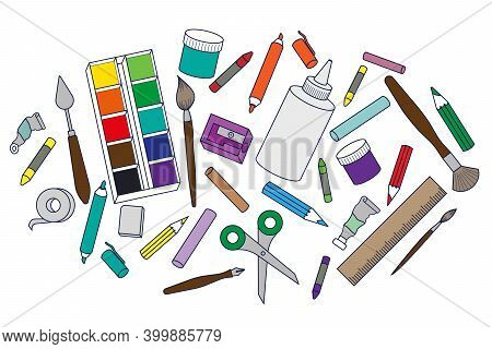 Stationery Set. Art And Stationery, For School And Office.isolated Colored Elements.stationery Set.